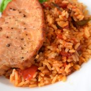Schab pieczony na ryżu