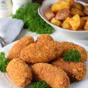 Chrupiące paluszki z kurczaka + pieczone ziemniaczki